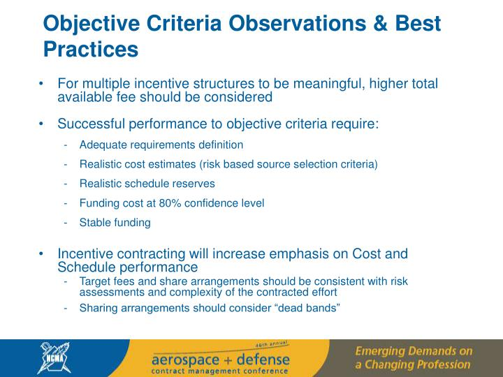 Objective Criteria Observations & Best Practices