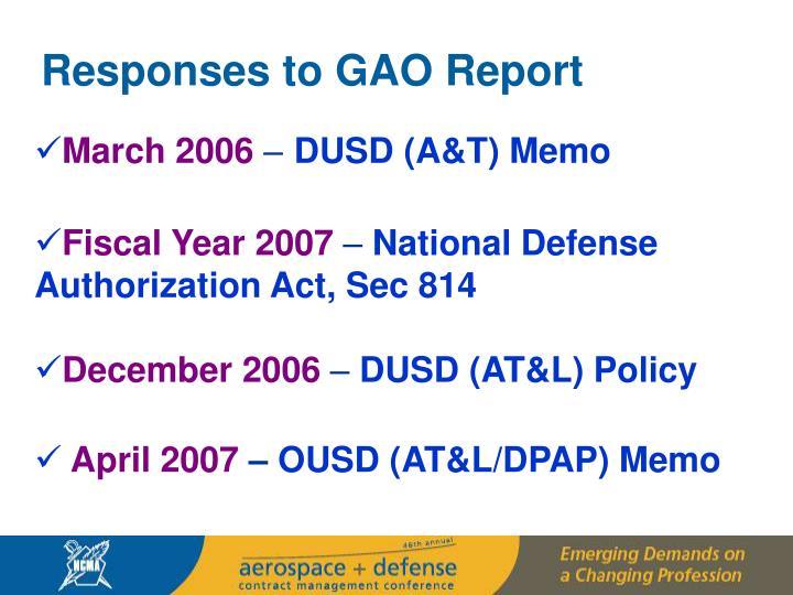 Responses to GAO Report
