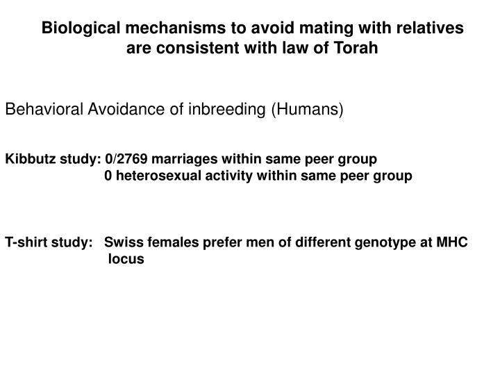 Biological mechanisms to avoid mating with relatives