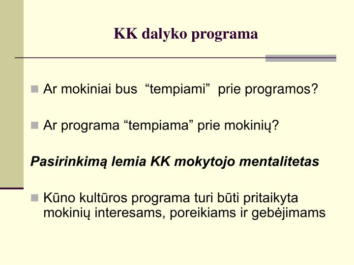 KK dalyko programa