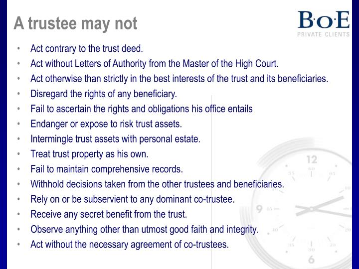 A trustee may not