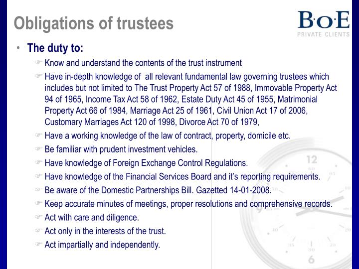 Obligations of trustees