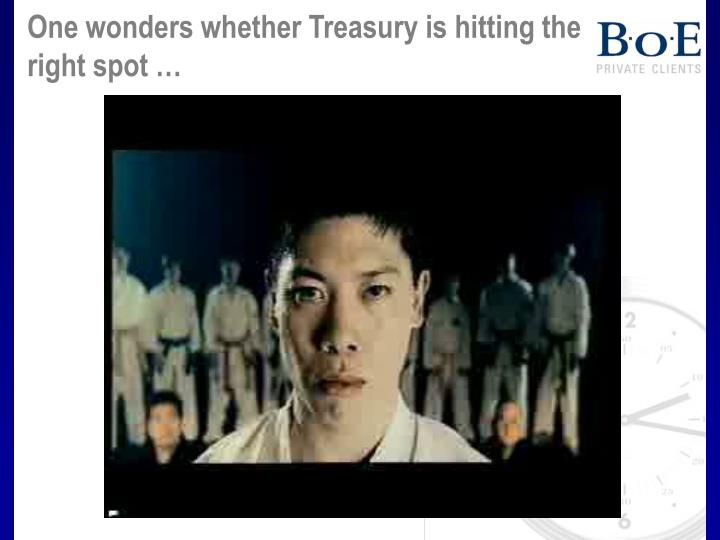 One wonders whether Treasury is hitting the right spot …