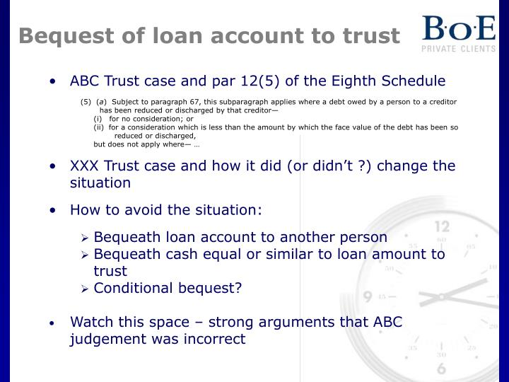 Bequest of loan account to trust