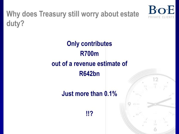 Why does Treasury still worry about estate duty?