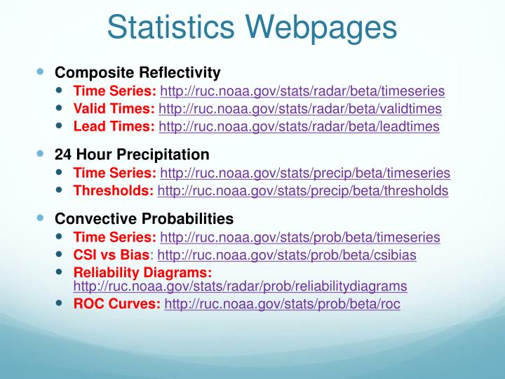 Statistics Webpages