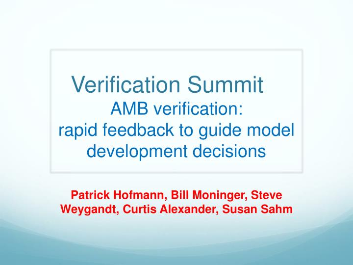 Verification summit amb verification rapid feedback to guide model development decisions