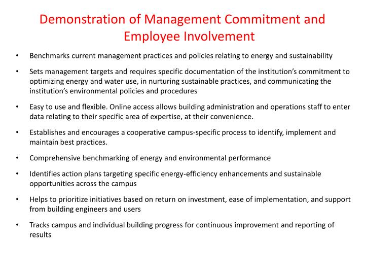 Demonstration of Management Commitment and Employee Involvement