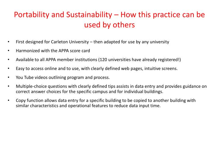 Portability and Sustainability – How this practice can be used by others