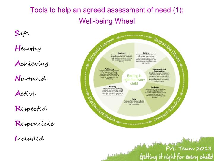 Tools to help an agreed assessment of need (1):