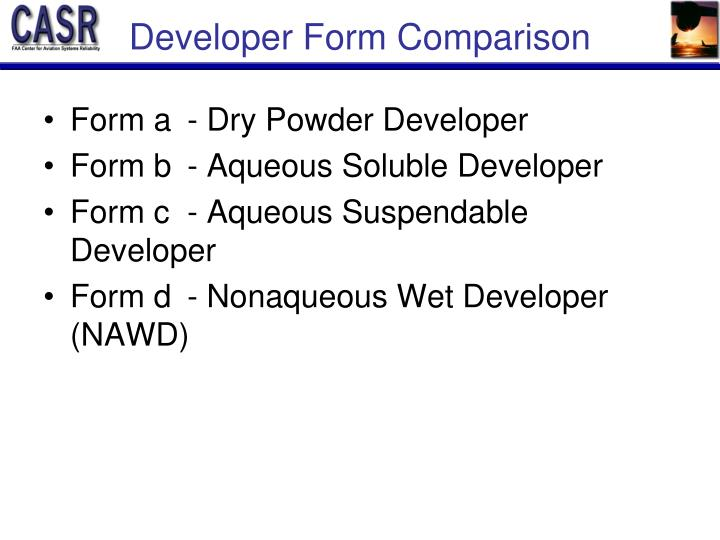 Developer Form Comparison