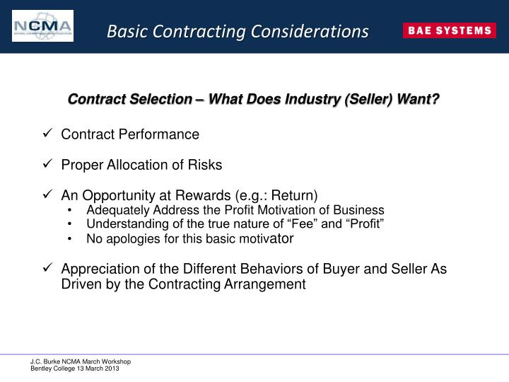 Basic Contracting Considerations