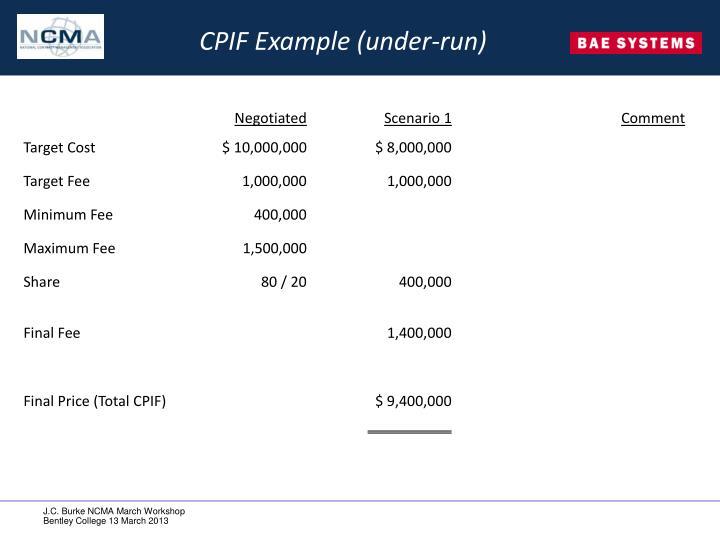 CPIF Example (under-run)