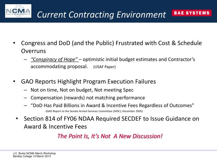 Current Contracting Environment