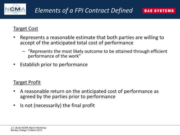 Elements of a FPI Contract Defined