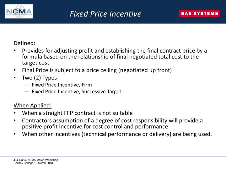 Fixed Price Incentive