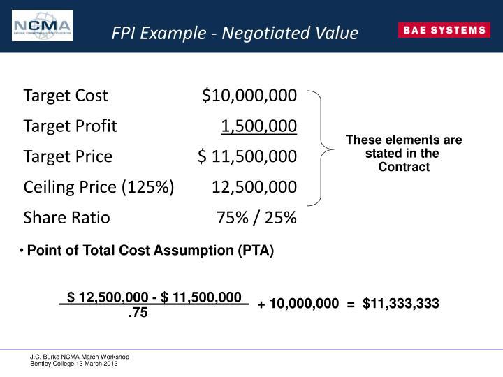 FPI Example - Negotiated Value