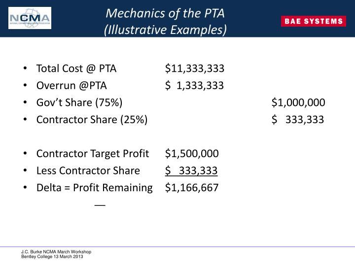 Mechanics of the PTA
