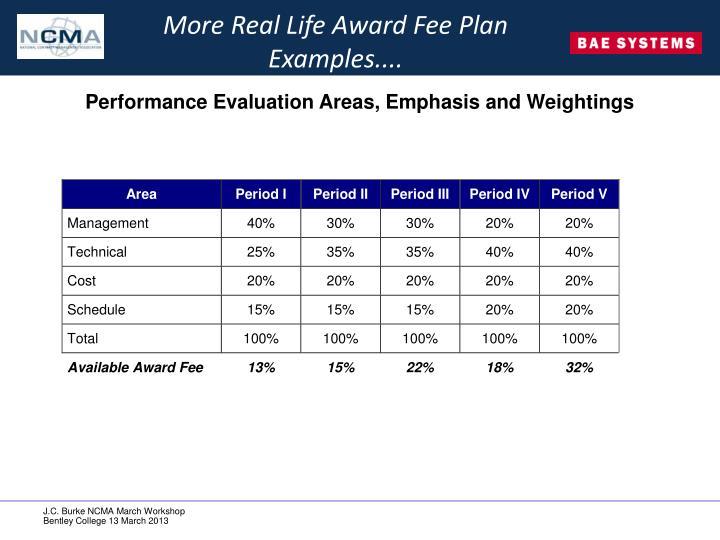 More Real Life Award Fee Plan Examples....
