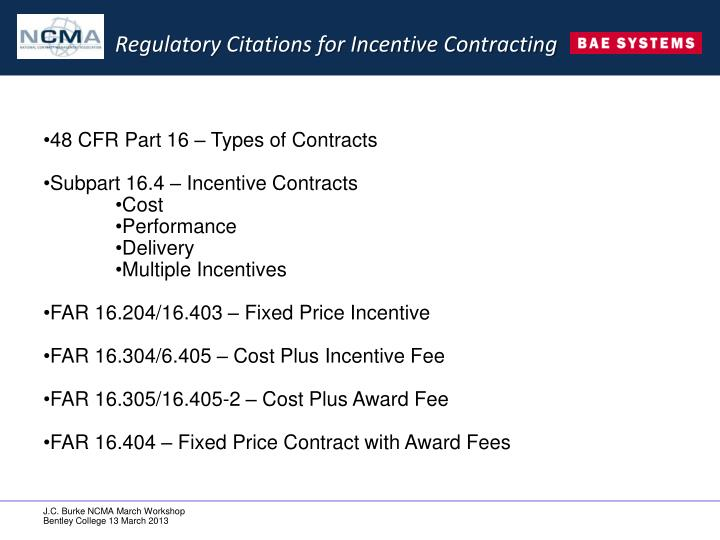 Regulatory Citations for Incentive Contracting