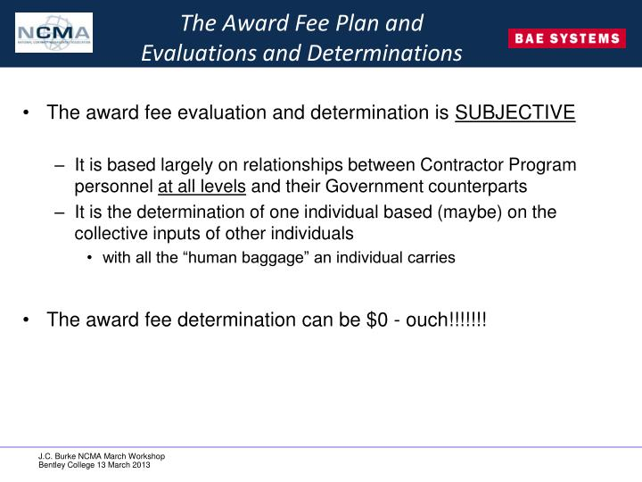 The Award Fee Plan and