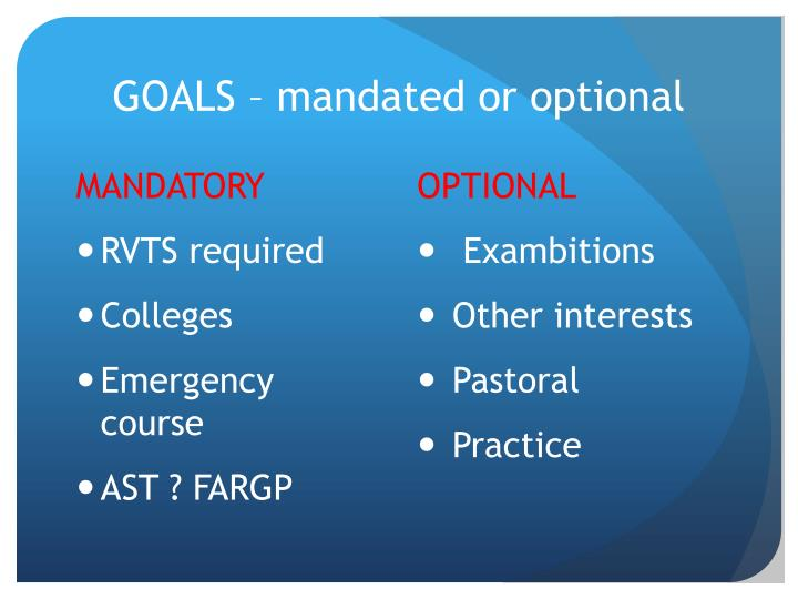 GOALS – mandated or optional