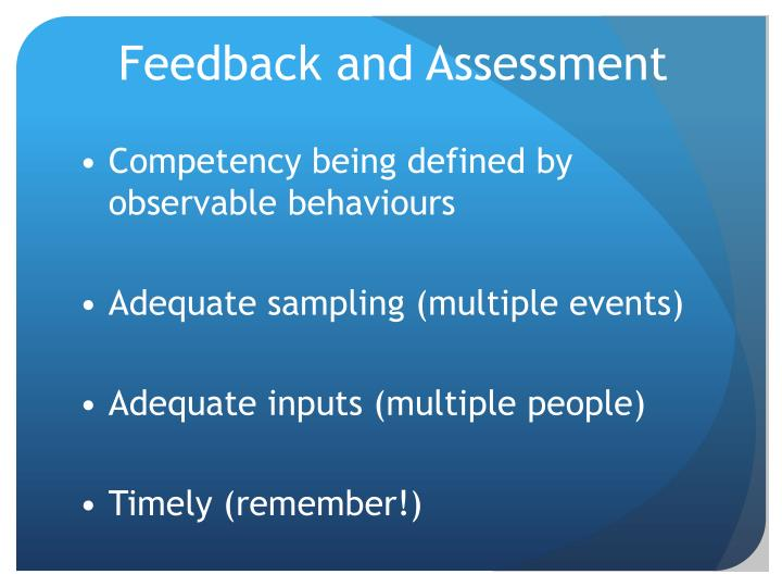 Feedback and Assessment