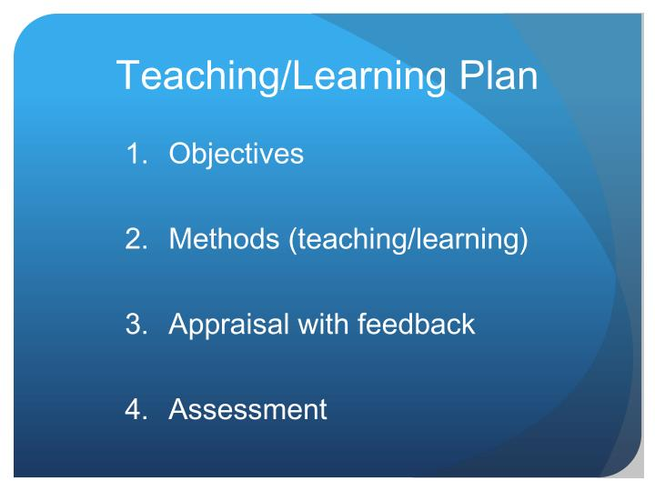 Teaching/Learning Plan