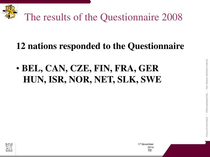 The results of the Questionnaire 2008
