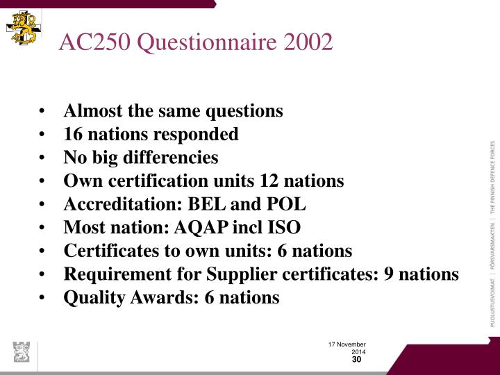 AC250 Questionnaire 2002