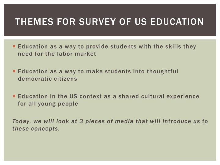 Themes for survey of us education