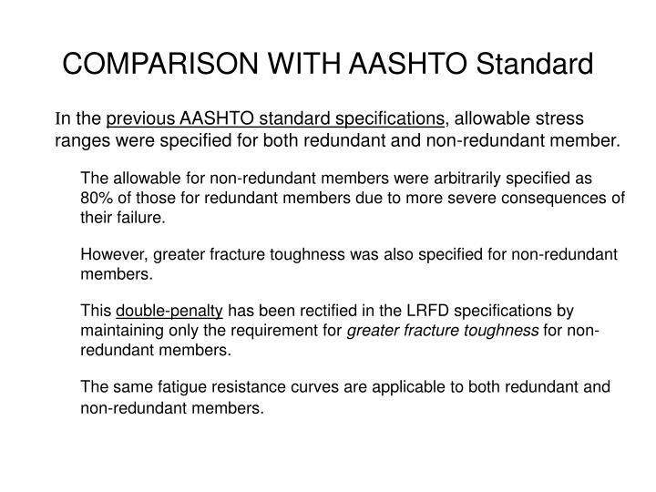 COMPARISON WITH AASHTO Standard