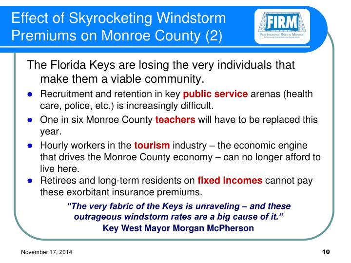 Effect of Skyrocketing Windstorm Premiums on Monroe County (2)