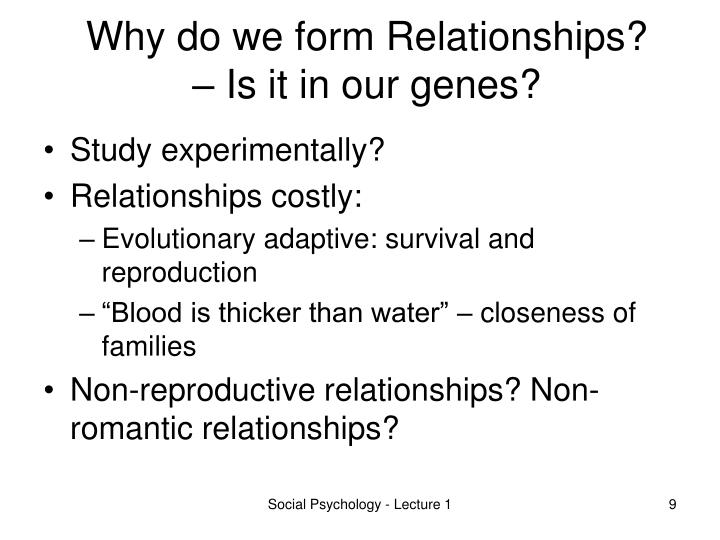 Why do we form Relationships? – Is it in our genes?