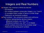 integers and real numbers