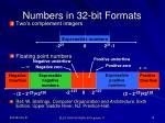 numbers in 32 bit formats
