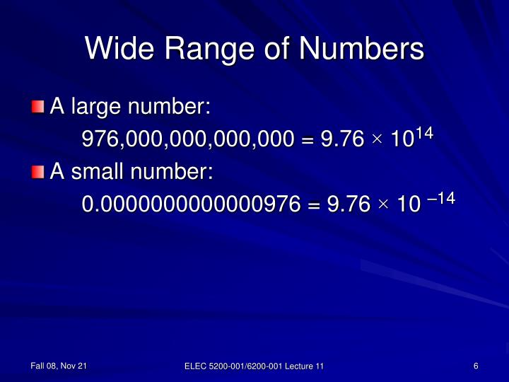Wide Range of Numbers