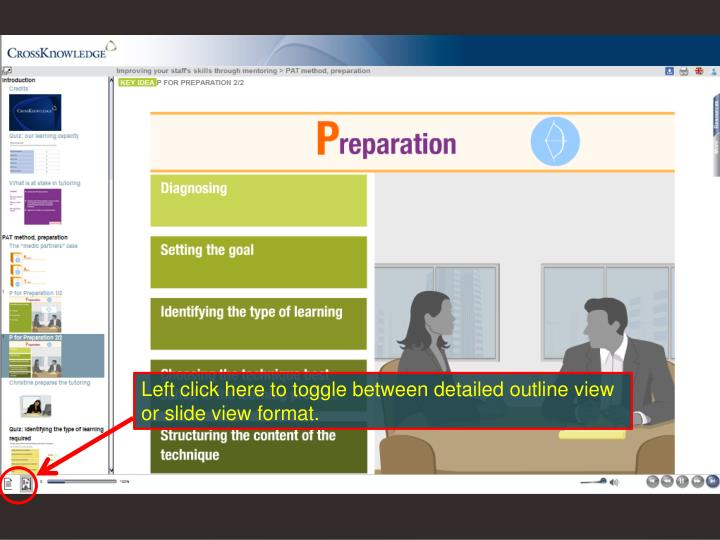 Left click here to toggle between detailed outline view or slide view format.