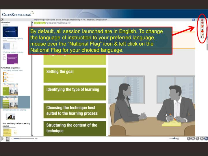 "By default, all session launched are in English. To change the language of instruction to your preferred language, mouse over the ""National Flag"" icon & left click on the National Flag for your choiced language."