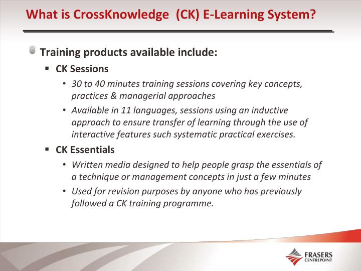 What is CrossKnowledge  (CK) E-Learning System?