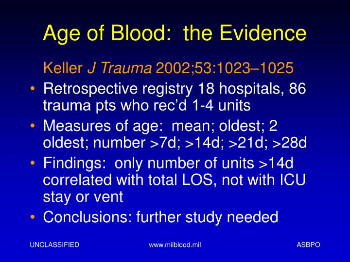 Age of Blood:  the Evidence