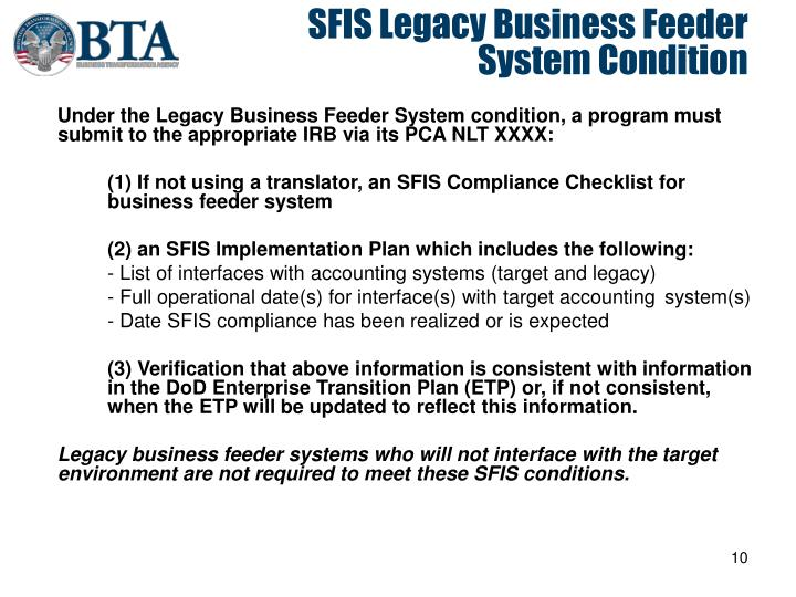 SFIS Legacy Business Feeder System Condition