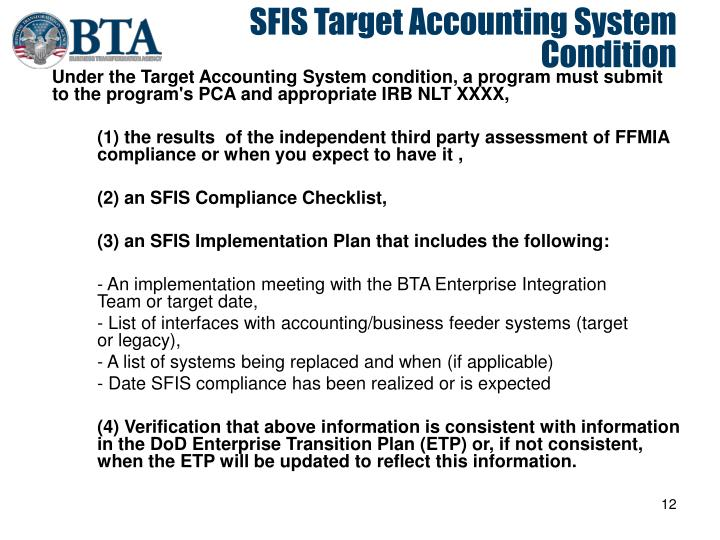 SFIS Target Accounting System Condition