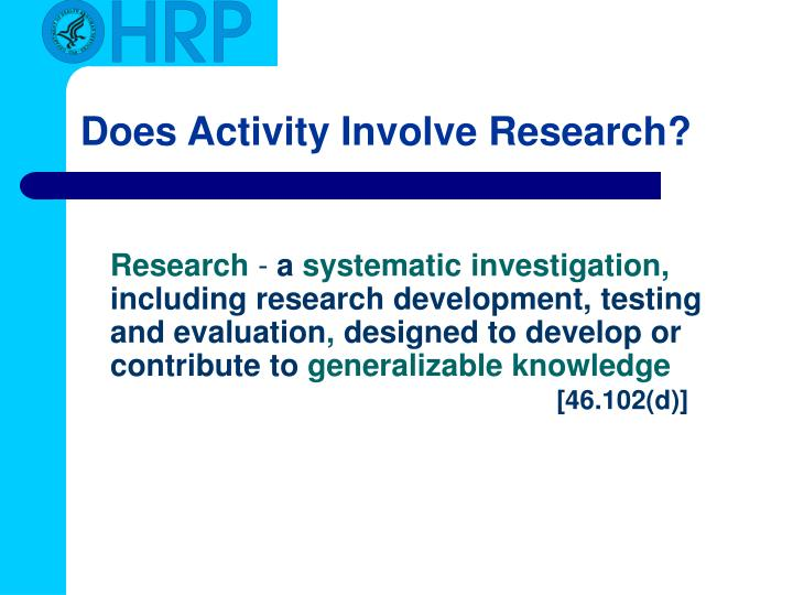 Does Activity Involve Research?
