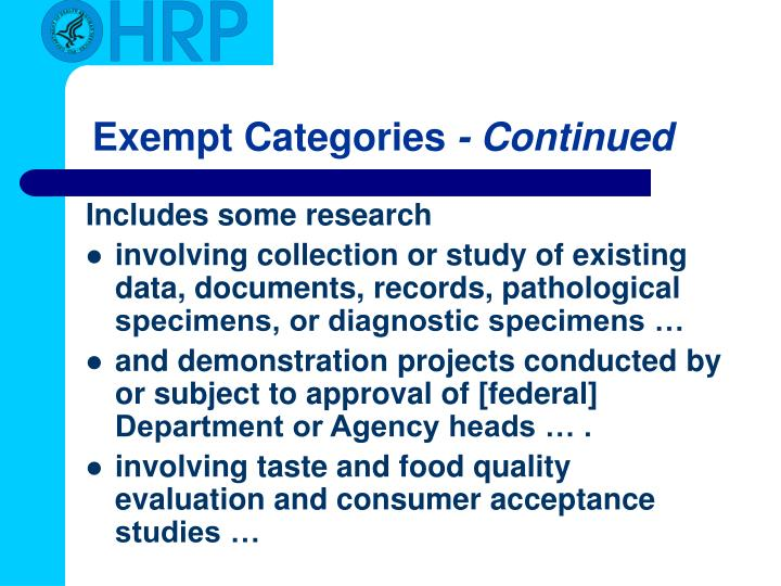 Exempt Categories