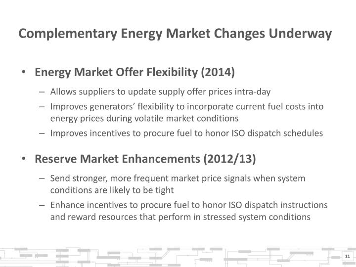 Complementary Energy Market Changes Underway