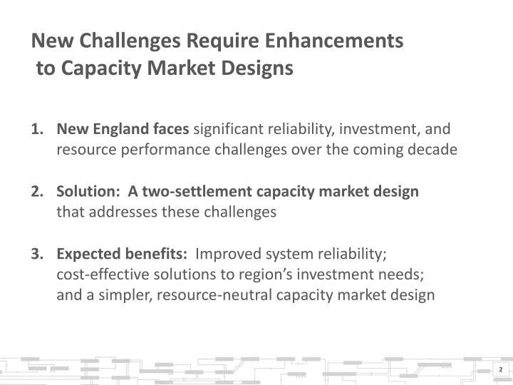 New Challenges Require Enhancements