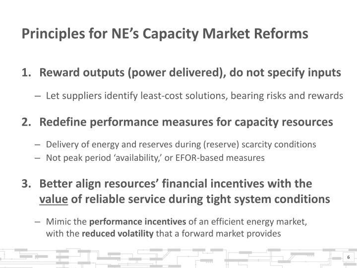 Principles for NE's Capacity Market Reforms