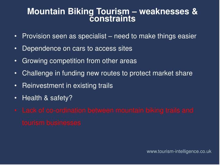 Mountain Biking Tourism – weaknesses & constraints