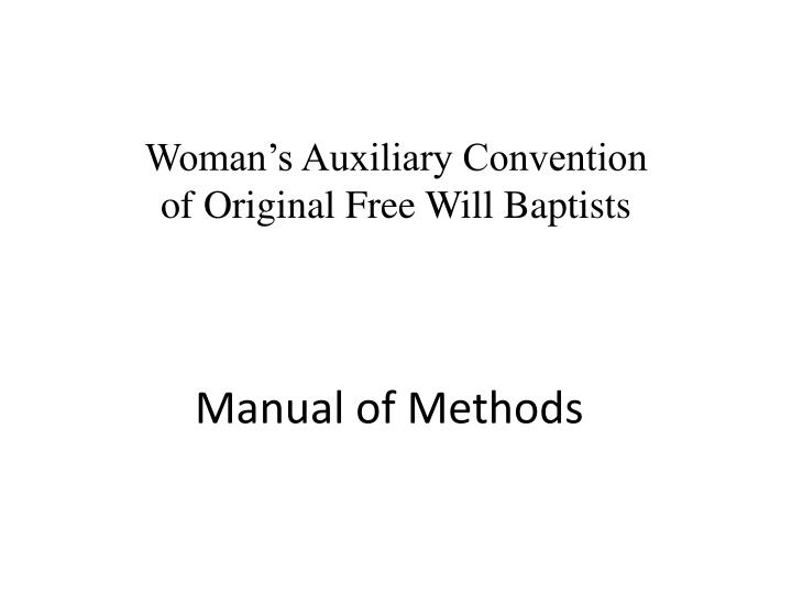 Manual of methods